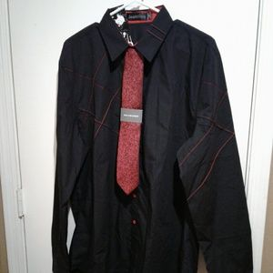 🌺 NWT Mens Jeansian Black/Red Fashion Shirt